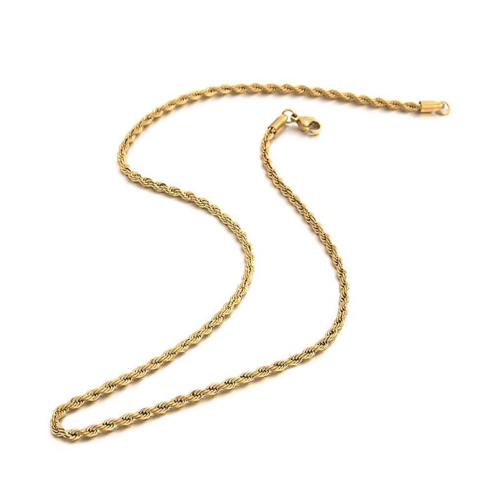 Chain Gold Color Twisted Metal Rope Chain Choker Necklace
