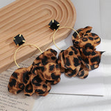 Bowknot Leopard Drop Earrings