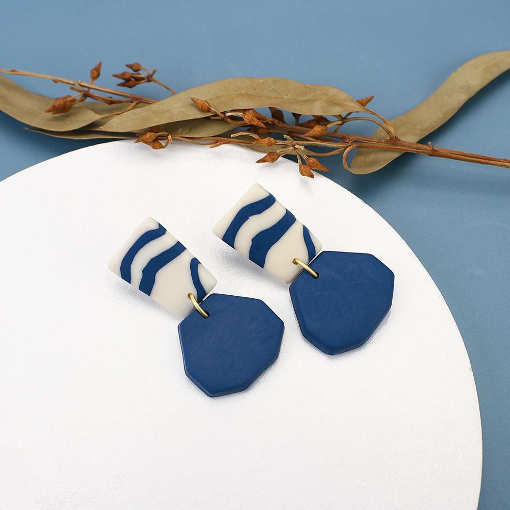 Solid Simple Polymer Clay Geometry Drop Earrings