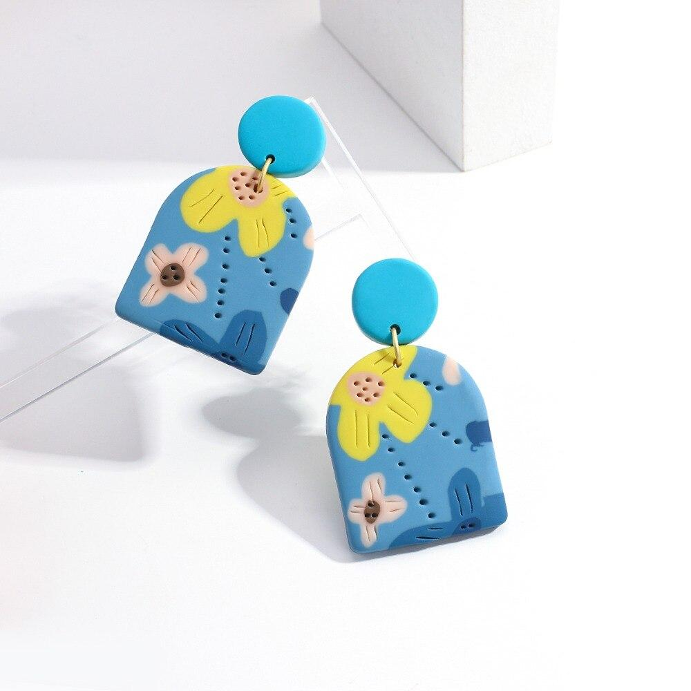 New Design Blue Color Flowers Graffiti Handmade Long Drop Earrings
