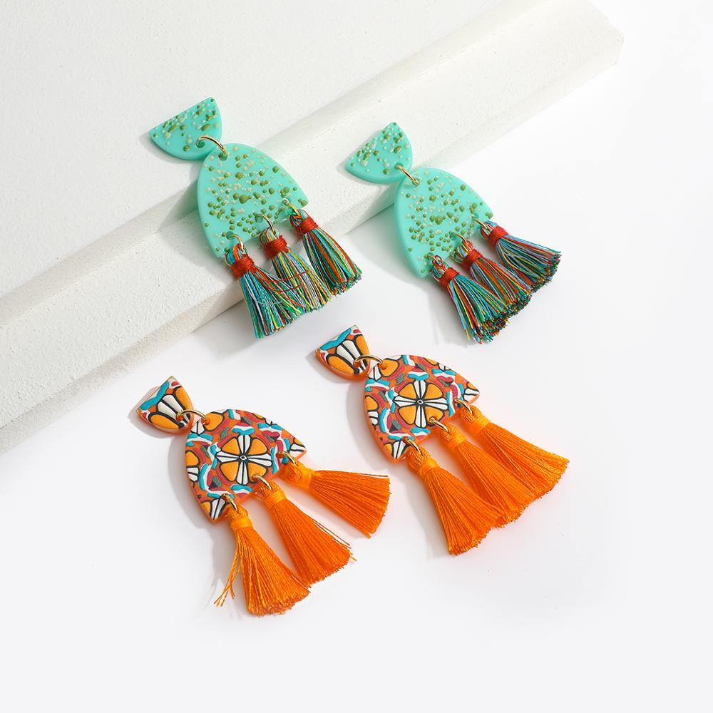 Bohemian Acrylic Tassel Long Drop Earrings