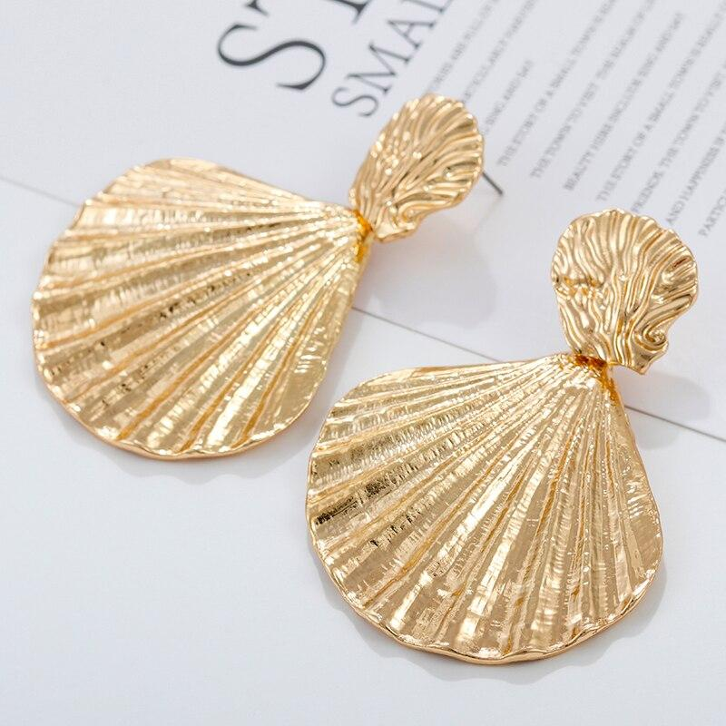 Gold Color Metal Shell Drop Earrings