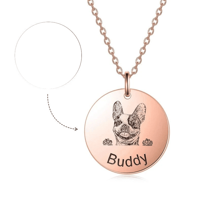 925 Sterling Silver Pet Lithograph Pet Portrait Engraved Necklace Personalized Necklace Gift For Pet Lovers