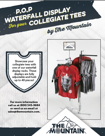 Waterfall Display Rack - Collegiate T-Shirts by The Mountain