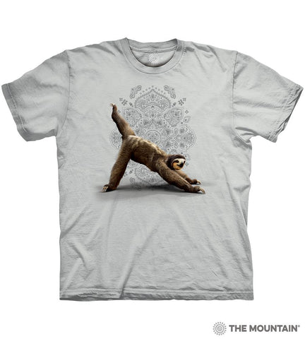 6481 Gray Three Legged Downward Sloth T-Shirt
