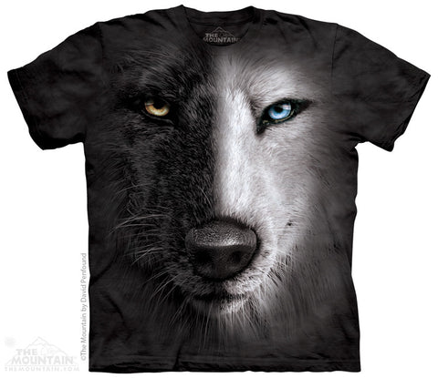 153947 Black And White Wolf Face Youth T-Shirt