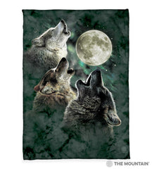 "2053 Three Wolf Moon 50x60"" Sherpa Fleece Blanket"