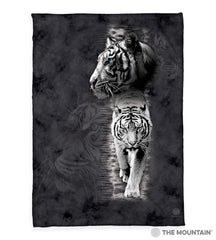 "3004 White Tiger Stripe 50x60"" Sherpa Fleece Blanket"