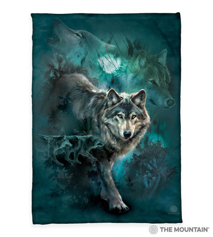 "3303 Night Wolves Collage 50x60"" Sherpa Fleece Blanket"