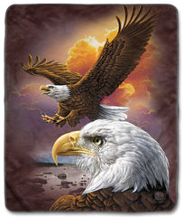 "3370 Eagle & Clouds 50x60"" Sherpa Fleece Blanket"