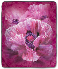 "4960 Poppies 50x60"" Sherpa Fleece Blanket"