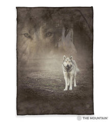 "5892 Grey Wolf Portrait 50x60"" Sherpa Fleece Blanket"