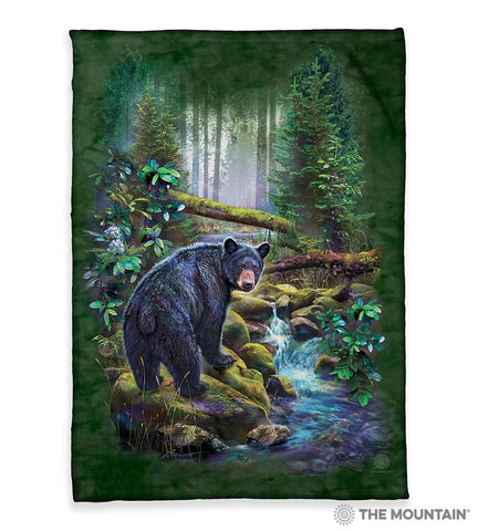 "6164 Black Bear Forest 50x60"" Sherpa Fleece Blanket"