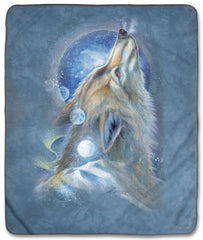 "6280 Wolf Howl 50x60"" Sherpa Fleece Blanket"