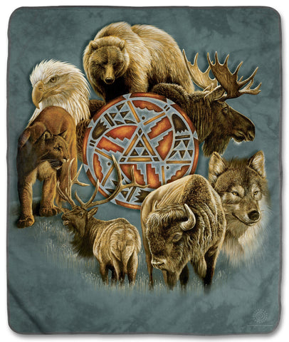 "8324 Animal Spirit Circle 50x60"" Sherpa Fleece Blanket"