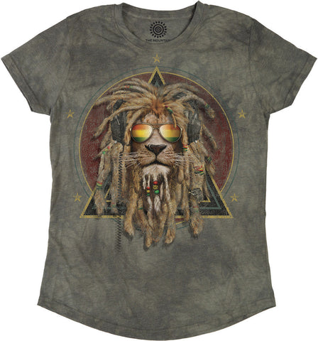 5853 DJ Lion Retro Women's Tri-Blend T-Shirt
