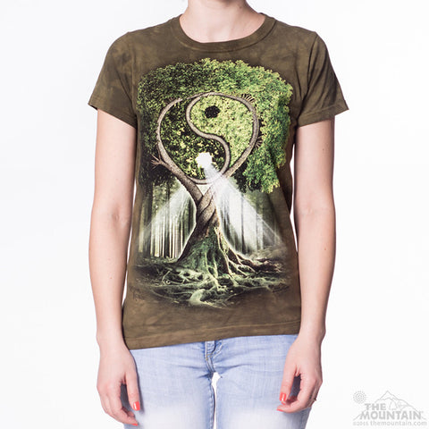 283209 Yin Yang Tree Ladies Tee