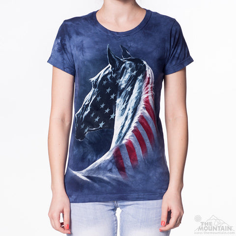 283381 Patriotic Horse Ladies Tee
