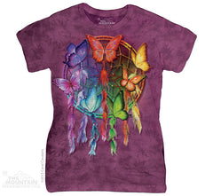 283401 Rainbow Butterfly Dreamcatcher Classic Ladies Tee