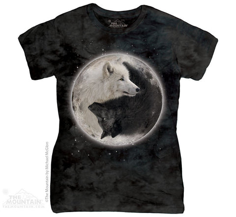 283922 Yin Yang Wolves Classic Ladies Tee