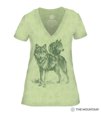 6504 Monotone Wolves - Green Women's Triblend T-Shirt