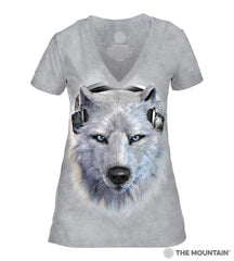 413518 White Wolf DJ Women's Tri-Blend V-Neck T-Shirt