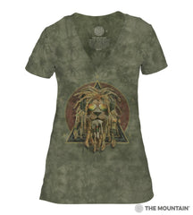 415853 DJ Lion Retro Women's Tri-Blend V-Neck T-Shirt