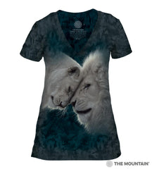415937 White Lions Love Women's Tri-Blend V-Neck T-Shirt