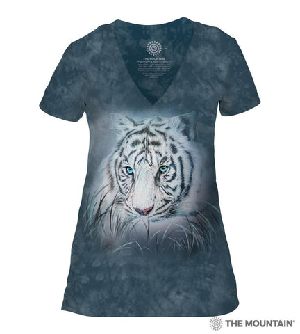 415964 Thoughtful White Tiger Women's Tri-Blend V-Neck T-Shirt