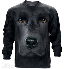 453255 Black Lab Face Long Sleeved T-Shirt