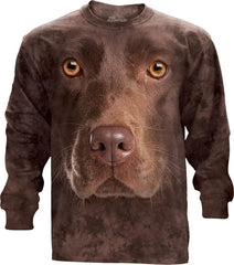 453550 Chocolate Lab Face Long Sleeved T-Shirt