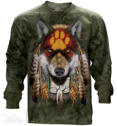 454022 Native Wolf Spirit Long Sleeved T-Shirt