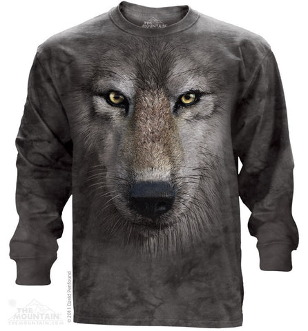 453249 Wolf Face Long Sleeved Tee