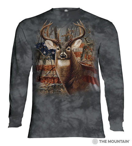 453709 Patriotic Buck Long Sleeved T-Shirt