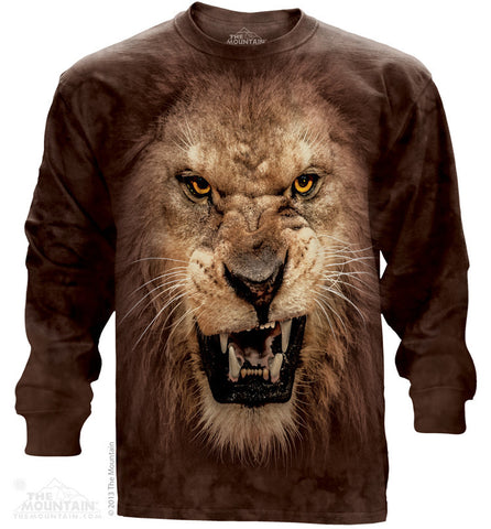 453742 Big Face Roaring Lion Long Sleeved Tee