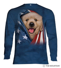 455905 Patriotic Golden Pup Long Sleeved T-Shirt