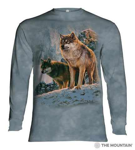 455938 Wolf Couple Sunset Long Sleeved T-Shirt