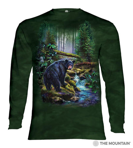 456164 Black Bear Forest Long Sleeved T-Shirt