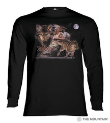 456169 Arapaho Wolf Moon Long Sleeved T-Shirt