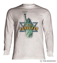 456182 Lady Liberty Hanukkah Long Sleeved T-Shirt