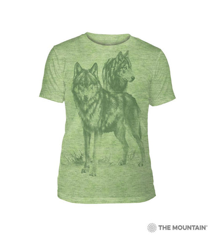 6504 Monotone Wolves - Green Triblend T-Shirt