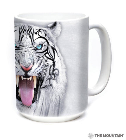 573953 Big Face Tribal White Tiger Mug