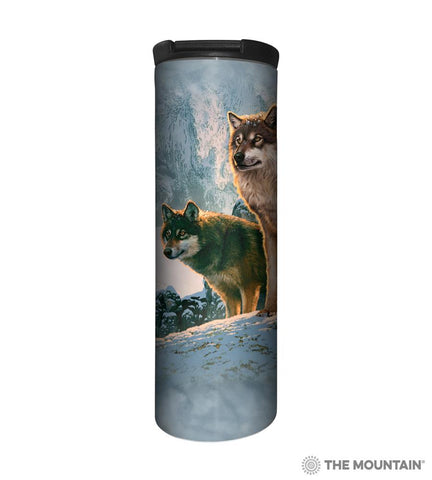 595938 Wolf Couple Sunset Barista Tumbler