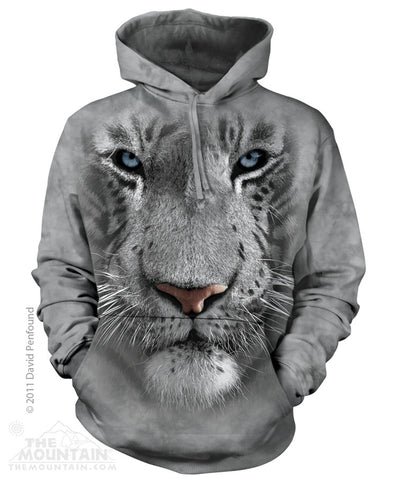 723252 White Tiger Face Hoodie