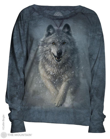 745869 Wolves Plow Women's Pullover Slouchy Crew