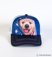 5905 Patriotic Golden Pup Trucker Hat