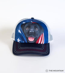 5972 Patriotic Black Lab Pup Trucker Hat