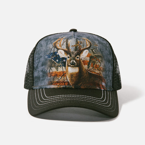 3709 Patriotic Buck Trucker Hat
