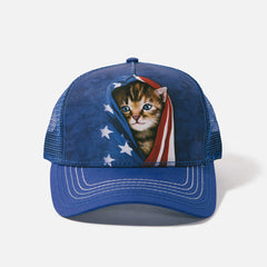 3941 Patriotic Kitten Trucker Hat