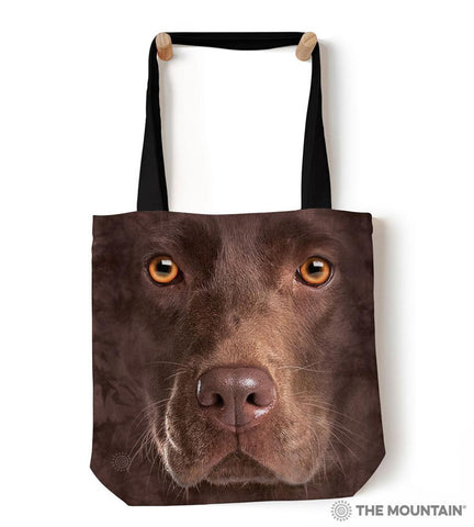"9735502 Chocolate Lab Face 18"" Tote Bag"